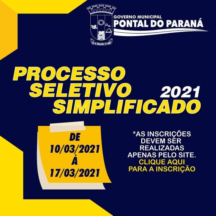 Processo Seletivo Simplificado 2021 –  Pontal do Paraná